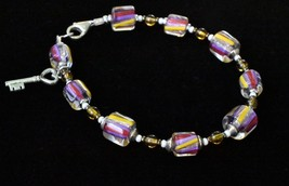 Pink and Purple Beaded Bracelet, Cane Glass Beaded Bracelet, Colorful Br... - $20.00