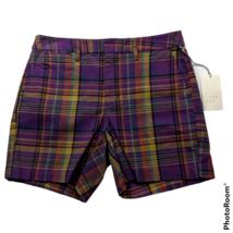 NWT A New Day Womens Chino Shorts Size 2 Purple Plaid Stretch Pockets - $26.72