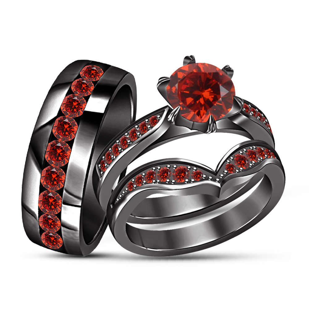 Round Red Garnet Wedding Black Gold Finish Trio His Her Bridal Engagement Ring S