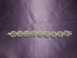 Crown Trifari Honeycomb Silver Tone Vintage Bracelet Designer Signed - $64.35