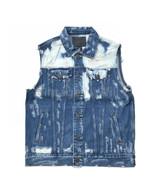 True Religion Mens Danny Denim Jean Bleach Splatter Distressed Vest Moto... - $93.10