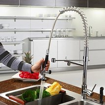 Contemporary Solid Brass Spring Kitchen Faucet - Chrome Finish - $247.45