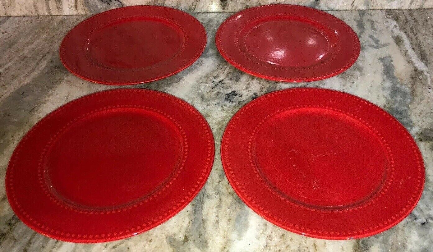 "Primary image for 4 Royal Norfolk Red 10 1/2""Dinner Plates Christmas Holiday Valentines Daily NEW"
