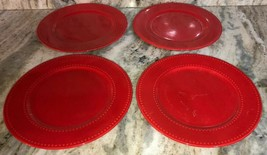 "4 Royal Norfolk Red 10 1/2""Dinner Plates Christmas Holiday Valentines Daily NEW - $59.28"