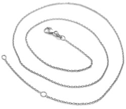 18K WHITE GOLD CHAIN, 1.0 MM ROLO ROUND CIRCLE LINK, 19.7 INCHES, MADE IN ITALY image 1