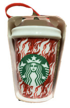 Starbucks Hot Cup Holiday Ornament New Red white houndstooth - $22.76