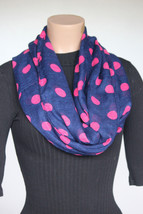 NEW Style & Co Navy Pink Dots Women's Infinity Neck Scarf 30x40 - $10.88