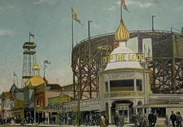 Old Undivided Back Postcard Entrance to Loop the Loop Coney Island, NY U... - $19.55
