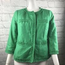 Talbots Women's Petite 6P Green Linen Blend Jacket Smocked  Frayed Trim ... - $18.24
