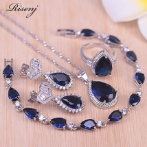 Big Water Drop Blue Stone Silver Color Jewelry For Women Bridal Jewelry Stud Ear - $38.56