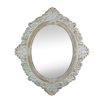 Amelia Wooden Oval Wall Mirror Vintage Style Distressed Ivory & Taupe Finish - $49.95