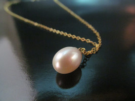 14k yellow gold delicate pearl necklace.Beautiful gift/Wedding Necklace - $170.00