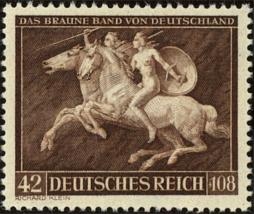 1941 Amazon Attack on Horseback Germany Postage Stamp Catalog Number B192 LH