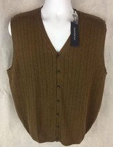 Men's NWT Barry Bricken Sweater Vest Brown Cashmere Size Large V Neck - $21.51