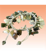 Howlite bracelet with Rutilated Quartz and Green Agate - $85.00