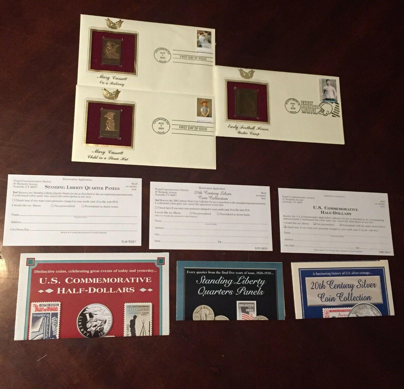 Lot of 3 GOLDEN 22K Gold Stamp Replica 1 Walter camp ~ 2 Mary Cassatt (Balcony/S