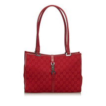 Pre-Loved Gucci Red Canvas Fabric GG Jackie Shoulder Bag ITALY - $307.62