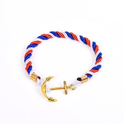 RIVERTREE Mens Gold Anchor Charm Bracelet Braided Weave Nylon Rope Wristband -