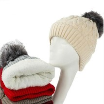 Hat Women Warm Fur Pompom Cap Skullies and Beanies Lining Knitted Winter... - $9.99