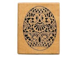 Vintage PSX Wood Mounted Rubber Stamp-Easter Egg Floral Oval Lace Design-C623