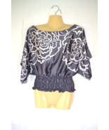 """LOOKIN SEXY"" Women's size S Small Body Central Shiny Gray Floral Blouse... - $8.69"
