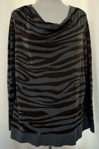 DANA BUCHMAN Zebra Animal Print Pullover Knit Top Drape Neck Gray & Brow... - $16.65