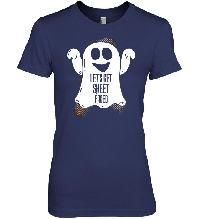 Funny Lets Get Sheet Faced Drinkers Halloween Tshirt
