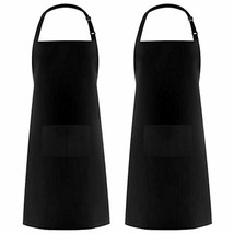 Syntus 2 Pack Adjustable Bib Apron Waterdrop Resistant with 2 Pockets Co... - $16.80