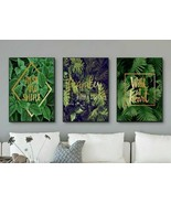 Nordic Poster Green Leaf Posters And Prints Gold Abstract Plants Wall Ar... - $6.99+