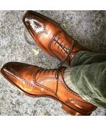 Bespoke Brown Wing Tip Leather Shoes for Men's - $159.97+
