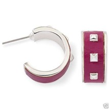 "Authentic Liz Claiborne Silvertone Purple Stud Earrings Pierced 1"" New S... - $161,51 MXN"