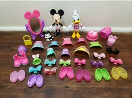 Disney Minnie Mouse Bow-Tique Snap On Lot Dolls Clothes Shoes Bows - $24.18