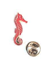 red seahorse Lapel Pin Badge / tie pin. in gift box enamel finished