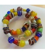 Vintage Multi-color MURANO Art Glass Bead & Crystal Wrap Bracelet - $65.00