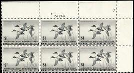 RW12, XF NH $1 Duck Plate Block of Six Stamps Cat $600.00 - Stuart Katz - $300.00