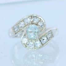 Light Blue Aquamarine with Aqua Accents Handmade 925 Silver Ladies Ring ... - £76.33 GBP