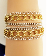 multi layers chain bracelet gold silver links metal womens mens unisex j... - $8.99
