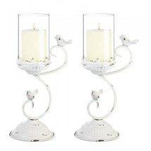 "2 Rustic Country 13.2"" White Candelabra 2 Bird Candle Holder Centerpieces - $36.70"