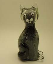 Cat  figurine art glass sculpture 7 inch  - $31.00