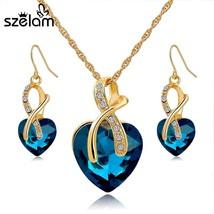 SZELAM 2019 Crystal Heart Necklace Earrings Jewellery Set for Women Bridal Weddi - $22.04