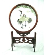 GORGEOUS OLD SIGNED CHINESE SILK CRANE EMBROIDERY IN CARVED ROSEWOOD WOO... - $98.95