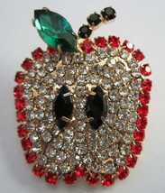 SPECTACULAR  RHINESTONE  APPLE BROOCH PIN  ANY TEACHER WOULD LOVE THIS!!   - $14.95