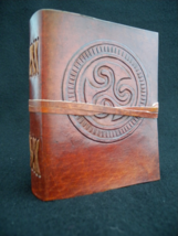 Celtic TRISKELE - Handmade Leather Journal, Notebook, Sketchbook - $27.50