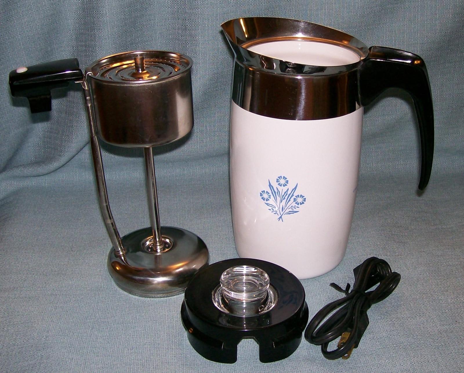 Corning Ware BLUE CORNFLOWER Electric Coffee Pot/Percolator 6 cup P-6-EP VGVC