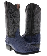 Mens Blue Crocodile Tail Leather Western Cowboy Boots Rodeo Alligator - £77.16 GBP