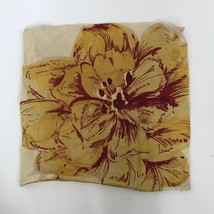 POTTERY BARN Linen Blend Mustard Yellow Maroon Floral Pillow Cover 20 x 20 - $19.19