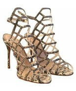 Schutz Womens HIGH HEEL CAGED Leather Snakeskin Sandals Strappy Heels 8B - $66.85