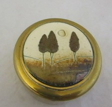 "SH Brass Pill Snuff Trinket Box Trees Country Design 3"" Diameter Vintage... - $14.08"