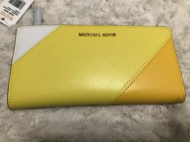 Michael Kors Money Pieces LG Card case Carryall Yellow Multi Polished Le... - $43.56