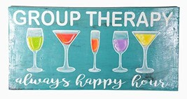 WorldBazzar Hand Carved Wooden Group Therapy Always Happy Hour Cocktails... - $24.69